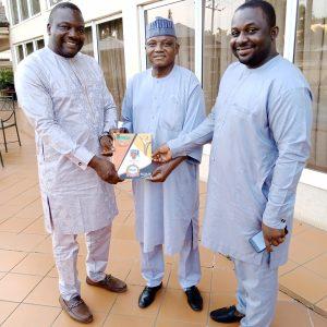 From left -Right: Emmanuel Bello publisher KR , Garba Shehu SSA media and publicity to President Buhari, Abel Augustine MD Kwararafareporters
